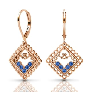 Sterling Silver Earrings by Lucia Costin Sapphire Swarovski Crystals