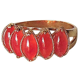 Red Jade Teardrops Gold Ring - 6-1/2
