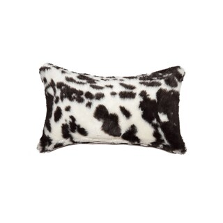 Luxe Belton Brown/White Faux-cowhide 12-inch x 20-inch Throw Pillow