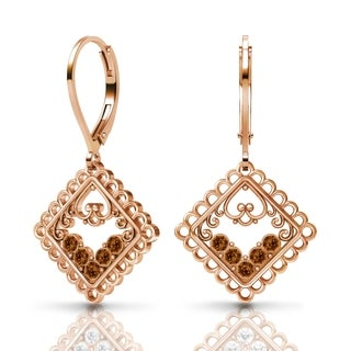 Sterling Silver Earrings by Lucia Costin Brown Swarovski Crystals