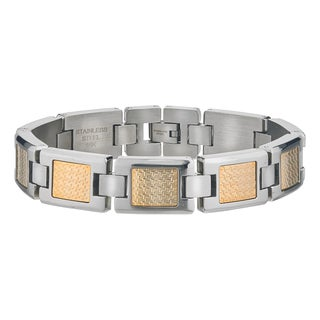 Mens Stainless Steel Bracelet with 18k Gold Foil Inlays By Ever One