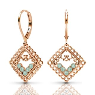 Sterling Silver Earrings by Lucia Costin Pacific-Opal Swarovski Crystals