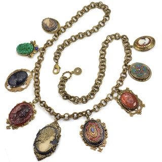 Sweet Romance Antique Elements and Cameo Charm Necklace