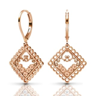 Sterling Silver Earrings by Lucia Costin Light-Peach Swarovski Crystals