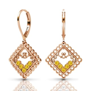Sterling Silver Earrings by Lucia Costin Light-Topaz Swarovski Crystals
