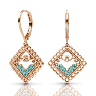 Sterling Silver Earrings by Lucia Costin Light-Turquoise Swarovski Crystals