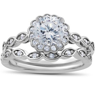 14k White Gold 7/8 ct TDW Vintage Halo Diamond Engagement Ring & Matching Wedding Band Set