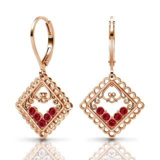 Sterling Silver Earrings by Lucia Costin Ruby Swarovski Crystals