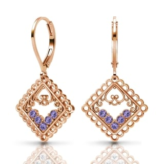 Sterling Silver Earrings by Lucia Costin Tanzanite Swarovski Crystals