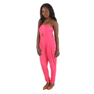 Hadari Women's Slimfit Coral Straight Across Neckline Pegged Bottom Jumpsuit With Side Front Pockets
