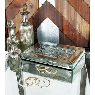 Mirrored Glass 10-inch Jewelry Box