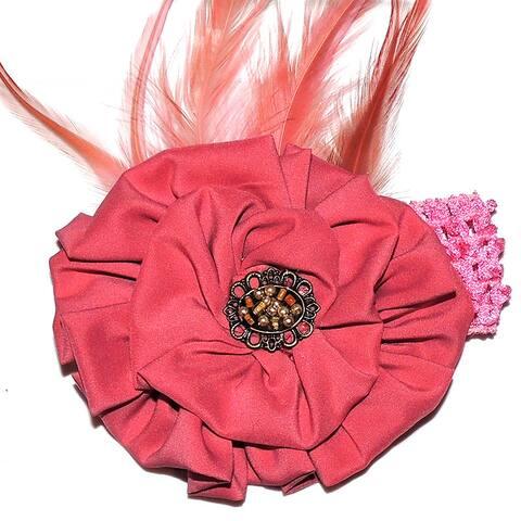 Girls Dusty Rose Feather Rosette Headband