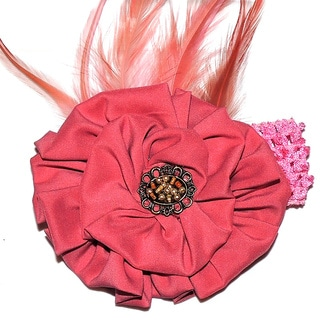Girls Dusty Rose Feather Rosette Headband