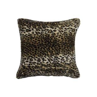 Luxe Belton Faux-fur 18-inch x 18-inch Leopard Print Pillow