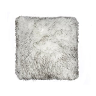 Luxe Belton Grey Gradient Faux 18-inches Wide x 18-inches High Fur Pillow