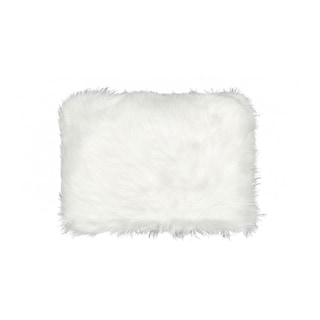 Luxe Belton Off White Polyester/Faux Fur 12-inch x 20-inch Pillow