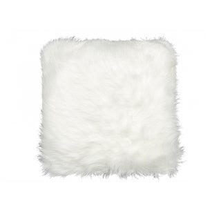 Luxe Belton Off-white Faux Fur 18-inch Square Pillow