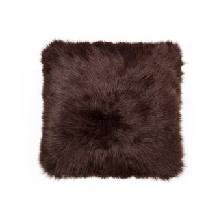 Luxe Belton Faux-fur 18-inch x 18-inch Chocolate Pillow