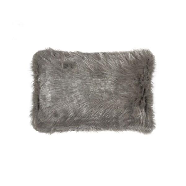 Luxe Belton Grey 12-inch x 20-inch Faux Fur Pillow