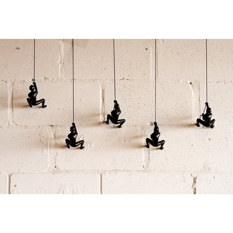 Black Resin/Leather Climbing Man Figurines (Pack of 5)