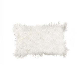 White Animal-print 100-percent Sheepskin Mongolian Pillow