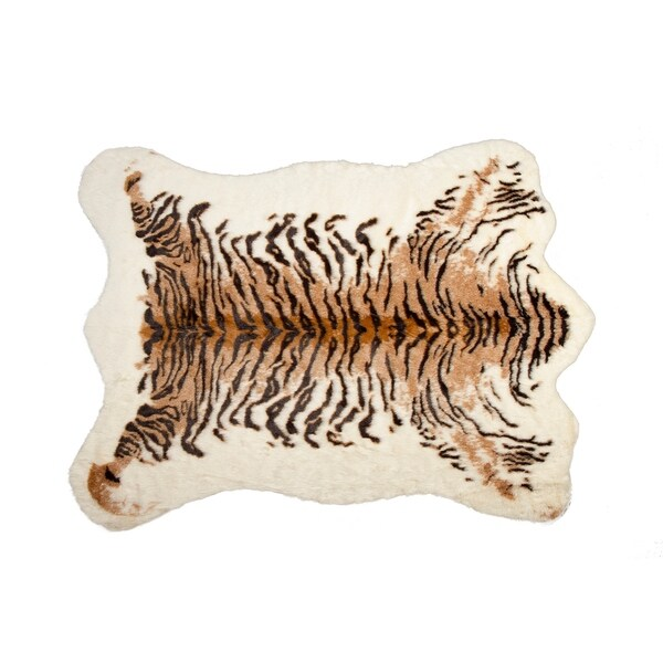 Shop Luxe Faux Cowhide Tiger Rug/Throw (5.25' X 7.5
