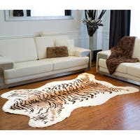 "Luxe Faux Cowhide Tiger Rug/Throw (5.25' x 7.5') - 5'3"" x 7'6"""