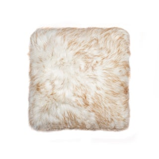 Luxe Belton Tan Gradient Faux Fur 18 inch x 18 inch Pillow