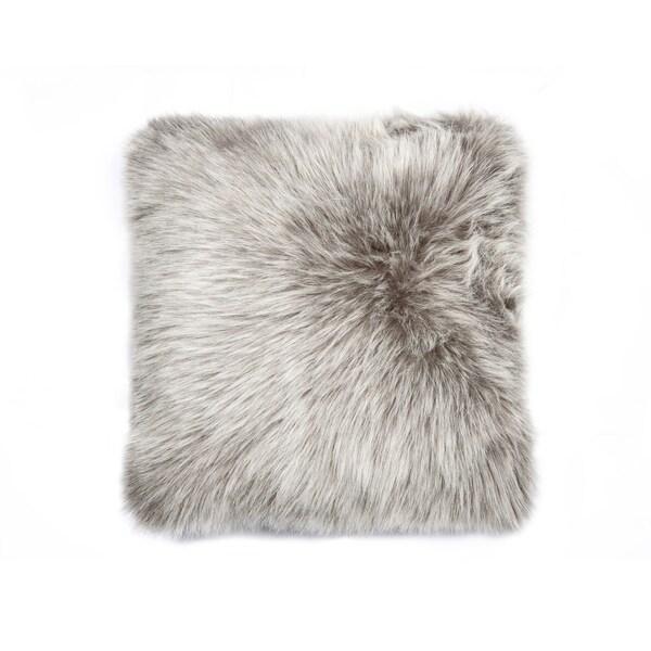 Shop Luxe Belton Grey Faux Fur Pillow Free Shipping On