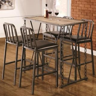 Industrial Distressed Finish Chain Link Bistro Bar Pub Table Set https://ak1.ostkcdn.com/images/products/12222778/P19067670.jpg?impolicy=medium
