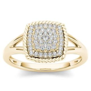 De Couer 10k Yellow Gold 1/4ct TDW Diamond Cluster Halo Engagement Ring (H-I,I2)