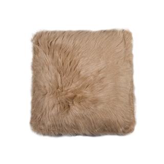 Luxe Belton Tan Faux Fur 18-inch Square Pillow