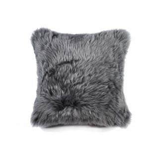 NA Grey New Zealand Sheepskin 18-inch x 18-inch Pillow