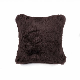 NA Chocolate 100-percent Natural New Zealand Sheepskin 18-inch Square Pillow