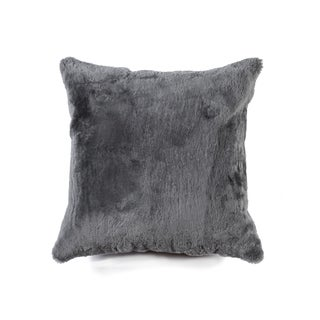 NA Nelson Grey 100-percent Natural Sheepskin 18-inch Square Pillow