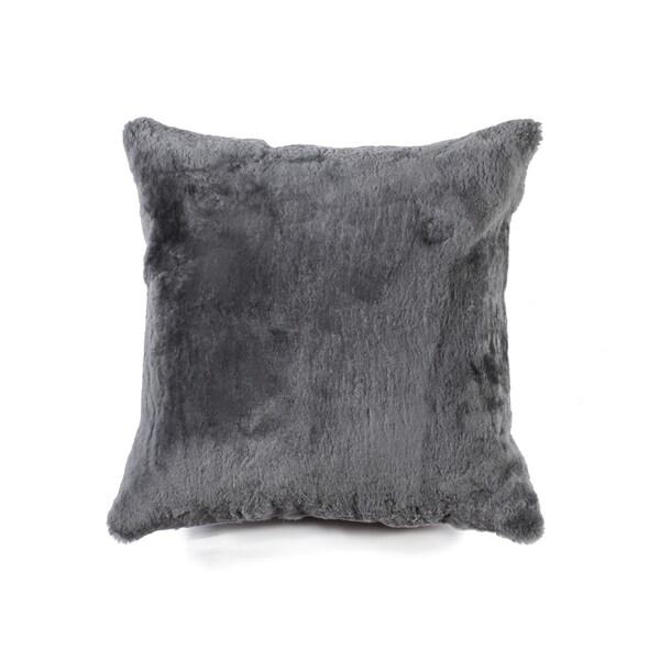 NA Nelson Grey 100-percent Natural Sheepskin 18-inch Square Pillow