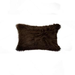 NA Chocolate 100-percent Natural Sheepskin 12-inch x 20-inch Mongolian Pillow
