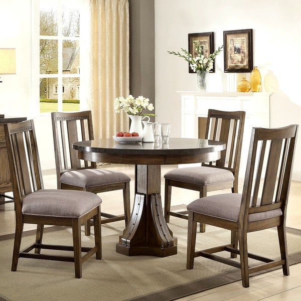 Architectural Industrial Rustic Round Design Dining Set