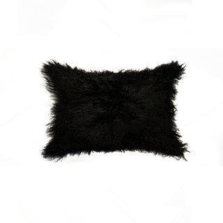 NA Black Mongolian Sheepskin 12-inch x 20-inch Pillow