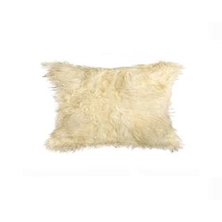 Natural Mongolian Sheepskin/Faux Suede 12-inch x 20-inch Pillow