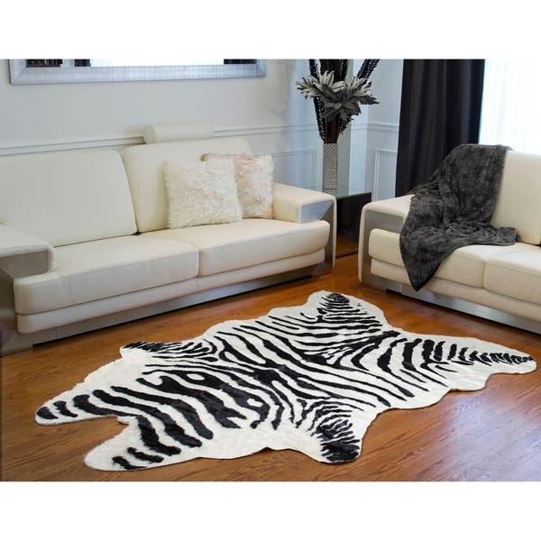Shop Carbon Loft Alzayyat Black White Faux Cowhide Zebra Area