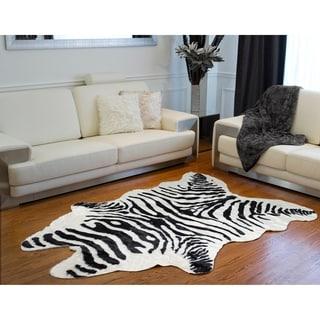 Luxe Black/White Faux Cowhide Zebra Rug/Throw (5.25' x 7.5')