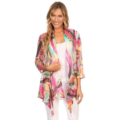 High Secret Women's Multicolor 3/4-Sleeves Lightweight Cardigan