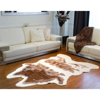Luxe Brown/White Faux Cowhide Rug/Throw 5.25-Inches Wide X 7.5-inches Long
