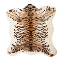 "Luxe Faux-cowhide Tiger-print Rug/Throw (4'3 x 5') - Tiger - 4'3"" x 5'"