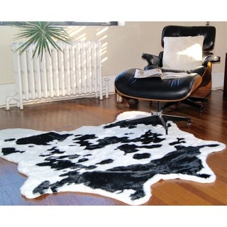 Luxe Black and White Faux Cowhide Rug (4' x 5')