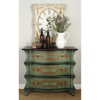 Traditional 32 x 36 Inch Distressed Green Wooden Dresser by Studio 350