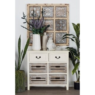 Farmhouse 28 Inch Wooden Chest with Four Crate Drawers by Studio 350
