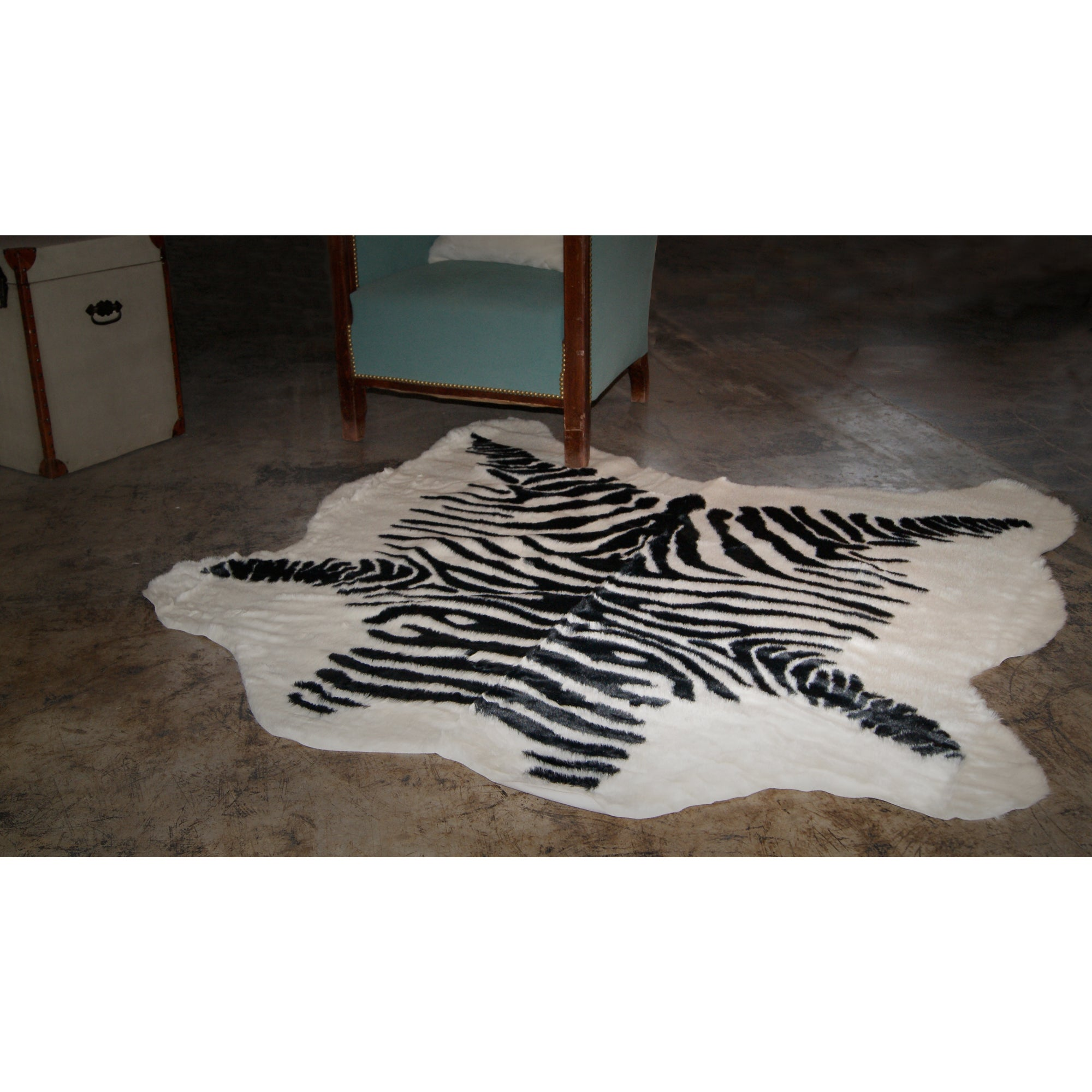 Luxe Faux Cowhide Zebra Black Throw Rug 4 X 5