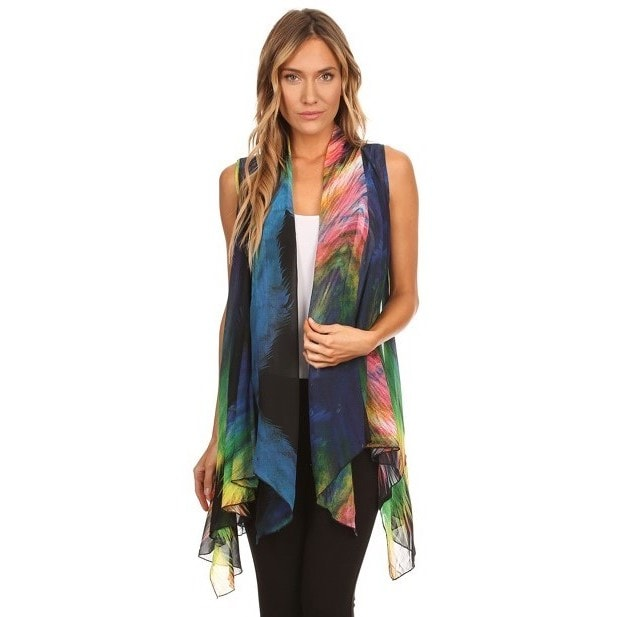 High Secret Women's Peacock Feather Print Vest Cardigan (...
